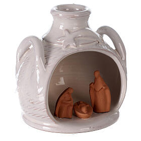 Terracotta Nativity in jar side handled two toned Deruta terracotta 12 cm s3