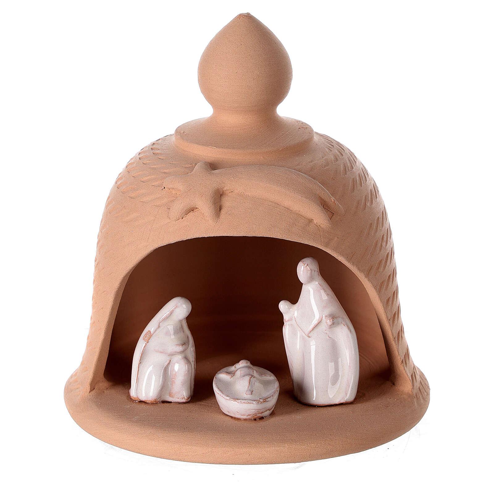 Crèche cloche terre cuite naturelle Nativité blanche Deruta 12 cm 4