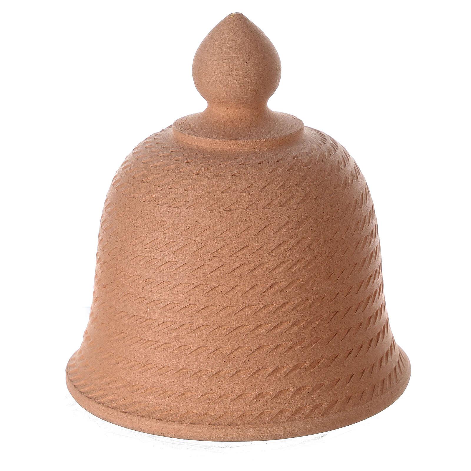 Presepe campana terracotta naturale Natività bianca Deruta 12 cm 4