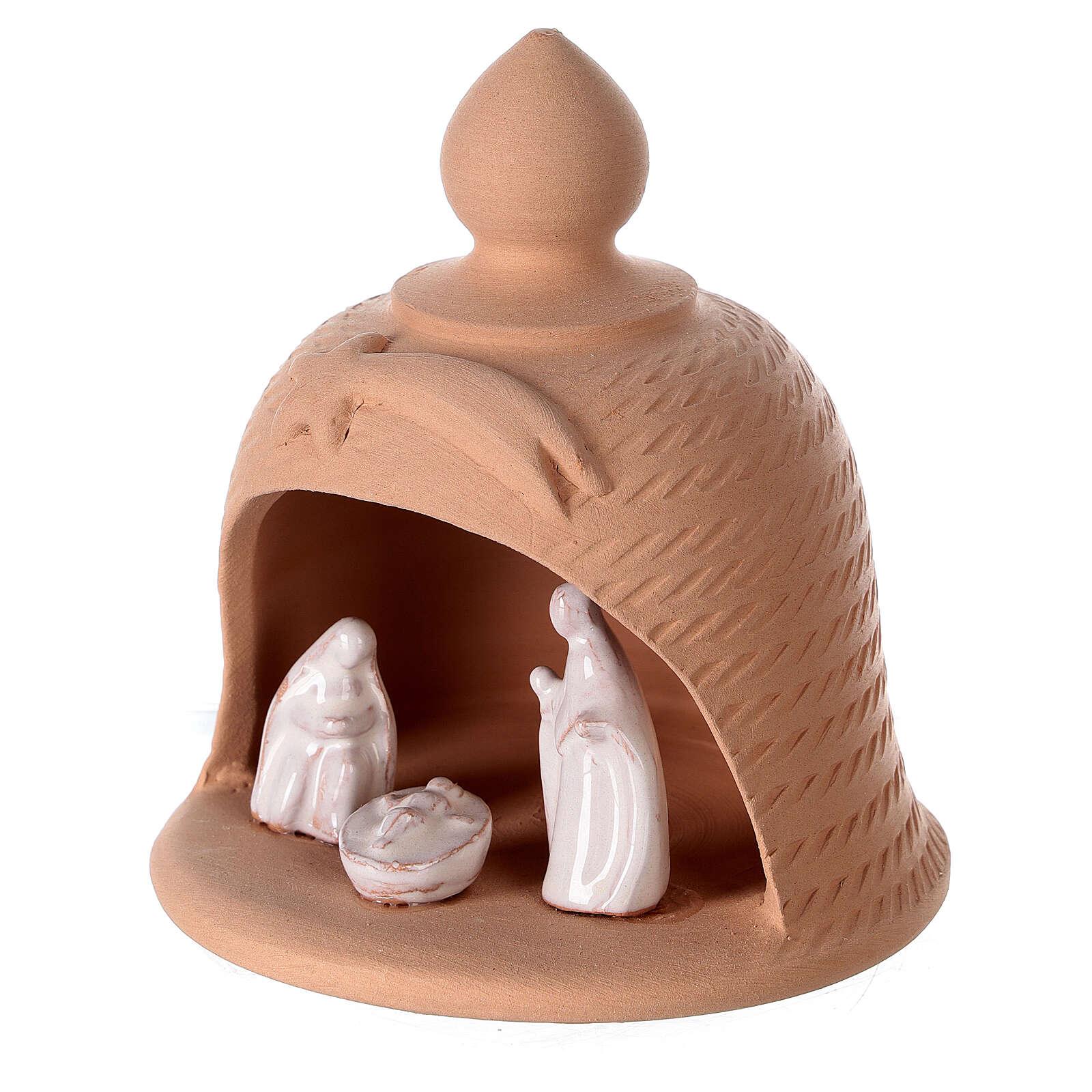 Holy Family inside bell in natural terracotta white nativity set Deruta 12 cm 4