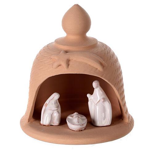 Holy Family inside bell in natural terracotta white nativity set Deruta 12 cm 1