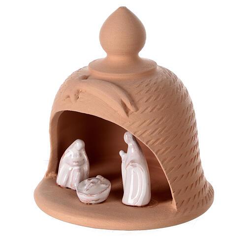 Holy Family inside bell in natural terracotta white nativity set Deruta 12 cm 2