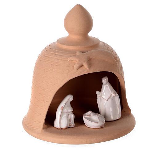 Holy Family inside bell in natural terracotta white nativity set Deruta 12 cm 3