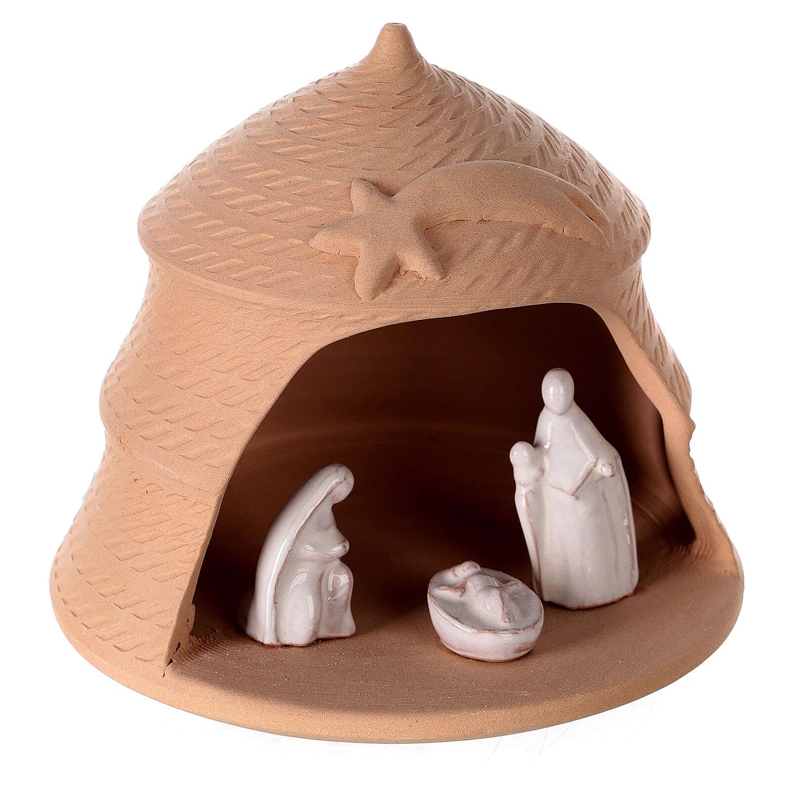 Nativity scene in pine natural white Deruta terracotta 12 cm 4