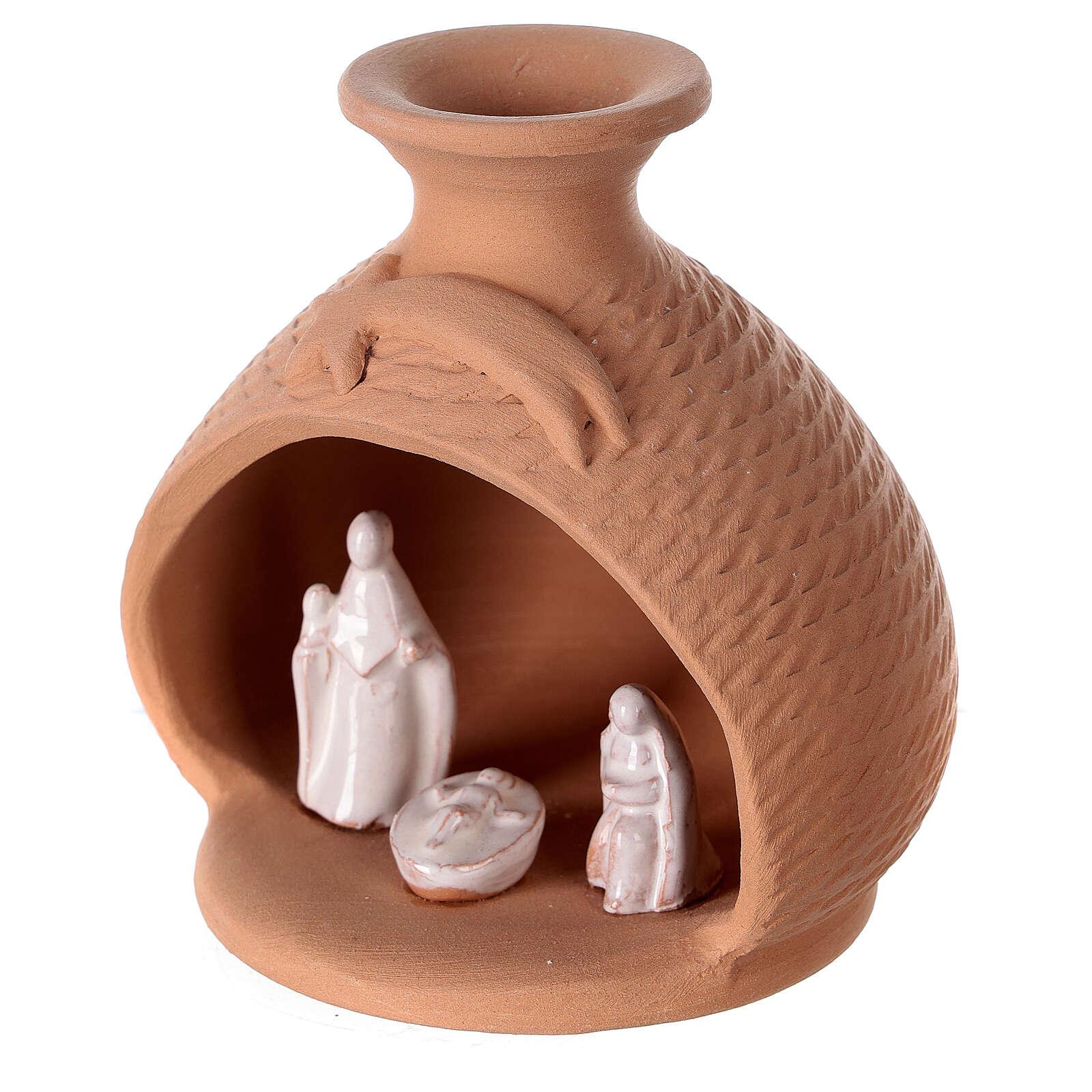 Nativity scene in terracotta vase white Deruta terracotta 12 cm 4