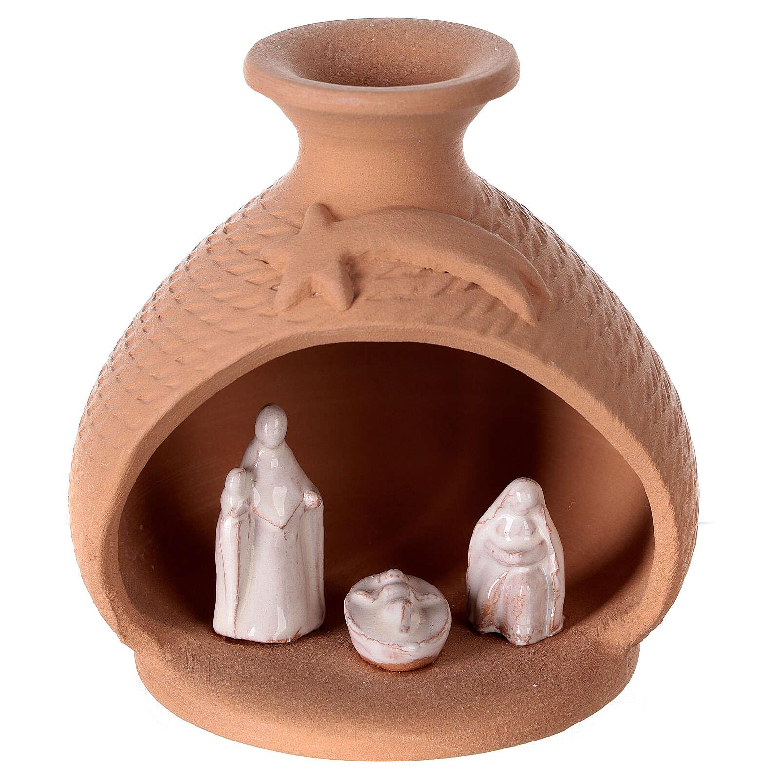 Crèche vase terre cuite Nativité blanche Deruta 12 cm 4