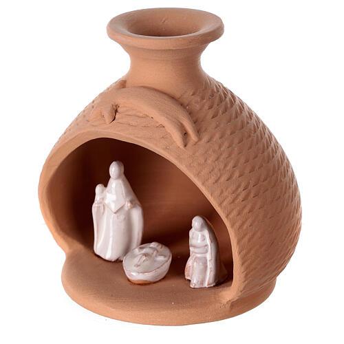 Nativity vase with white terracotta Holy Family Deruta 12 cm 2