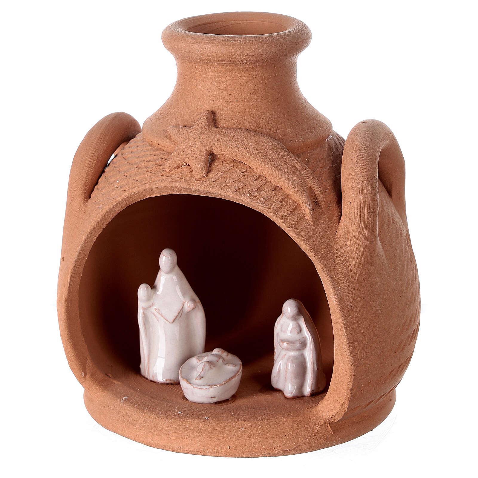 Jar side handles white Nativity Deruta terracotta 12 cm 4