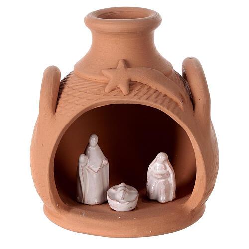 Jar side handles white Nativity Deruta terracotta 12 cm 1
