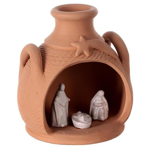 Jar side handles white Nativity Deruta terracotta 12 cm 3