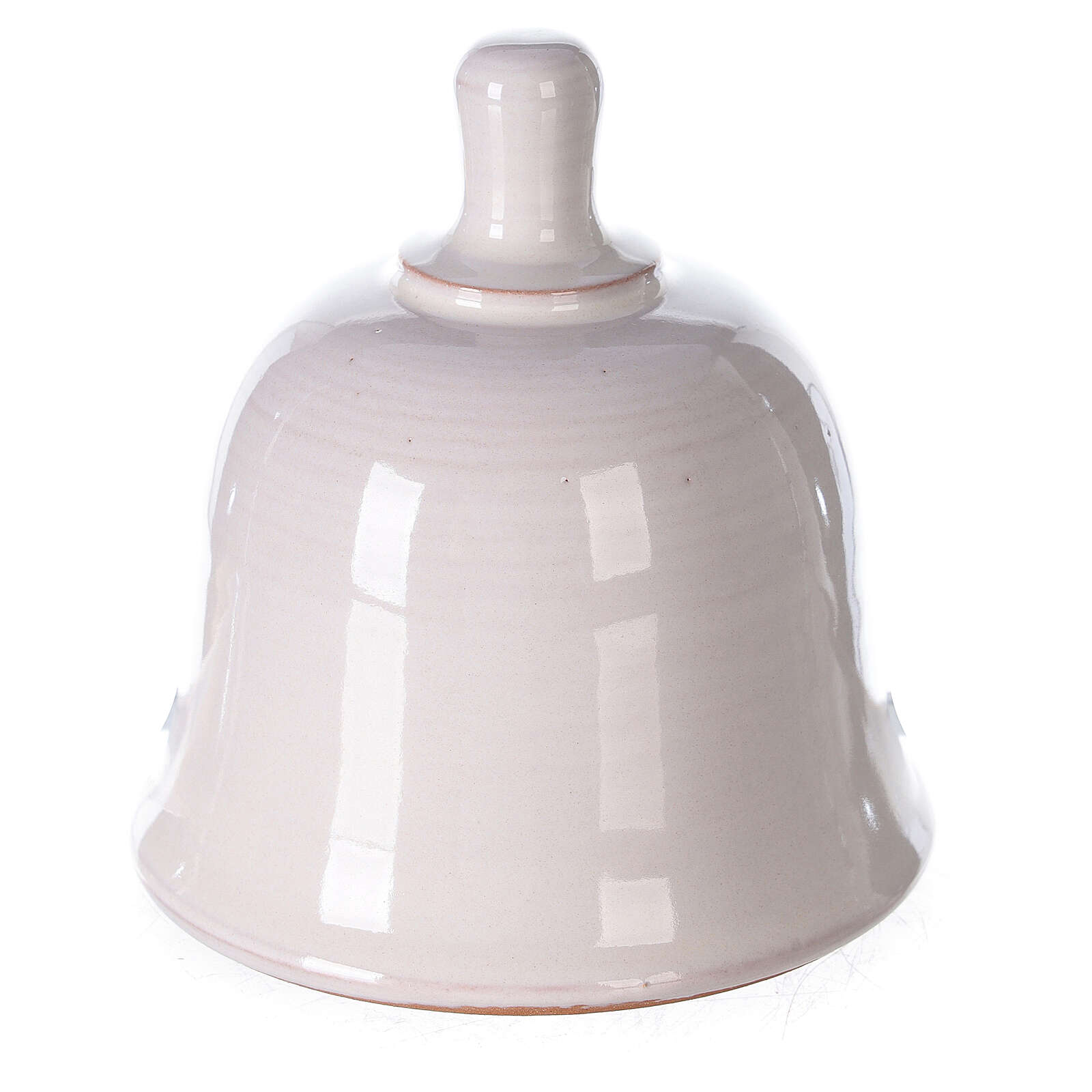 Mini white Deruta terracotta bell with Nativity scene 10 cm 4