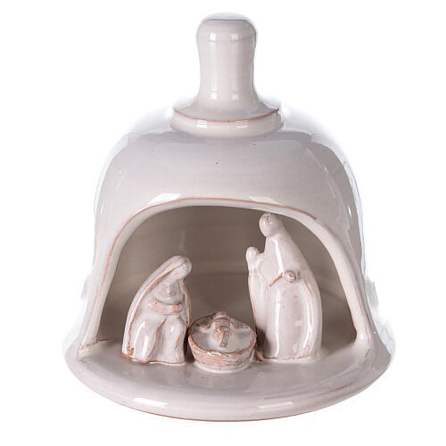Mini white Deruta terracotta bell with Nativity scene 10 cm 1