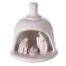White Nativity scene inside bell in Deruta terracotta 10 cm s1