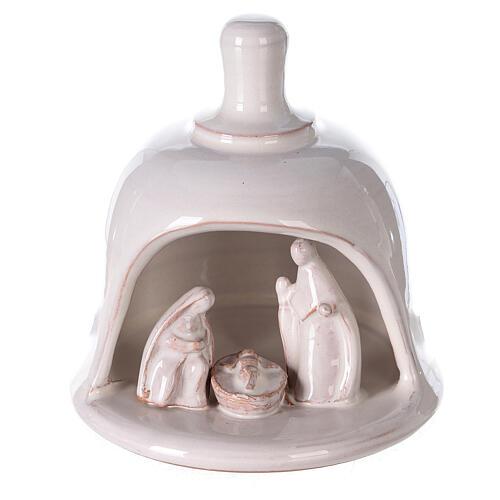 White Nativity scene inside bell in Deruta terracotta 10 cm 1