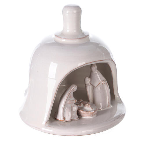 White Nativity scene inside bell in Deruta terracotta 10 cm 3