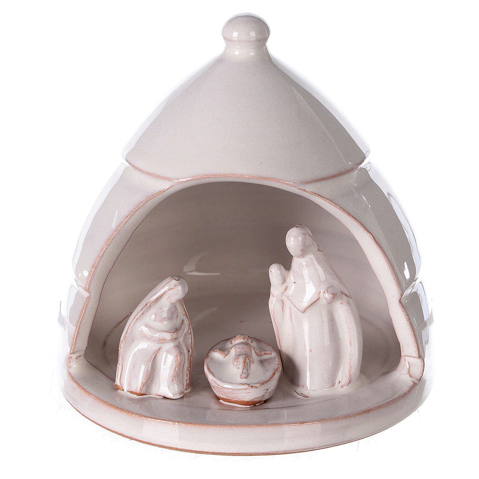 Rounded pine with miniature Nativity white Deruta terracotta 10 cm 4
