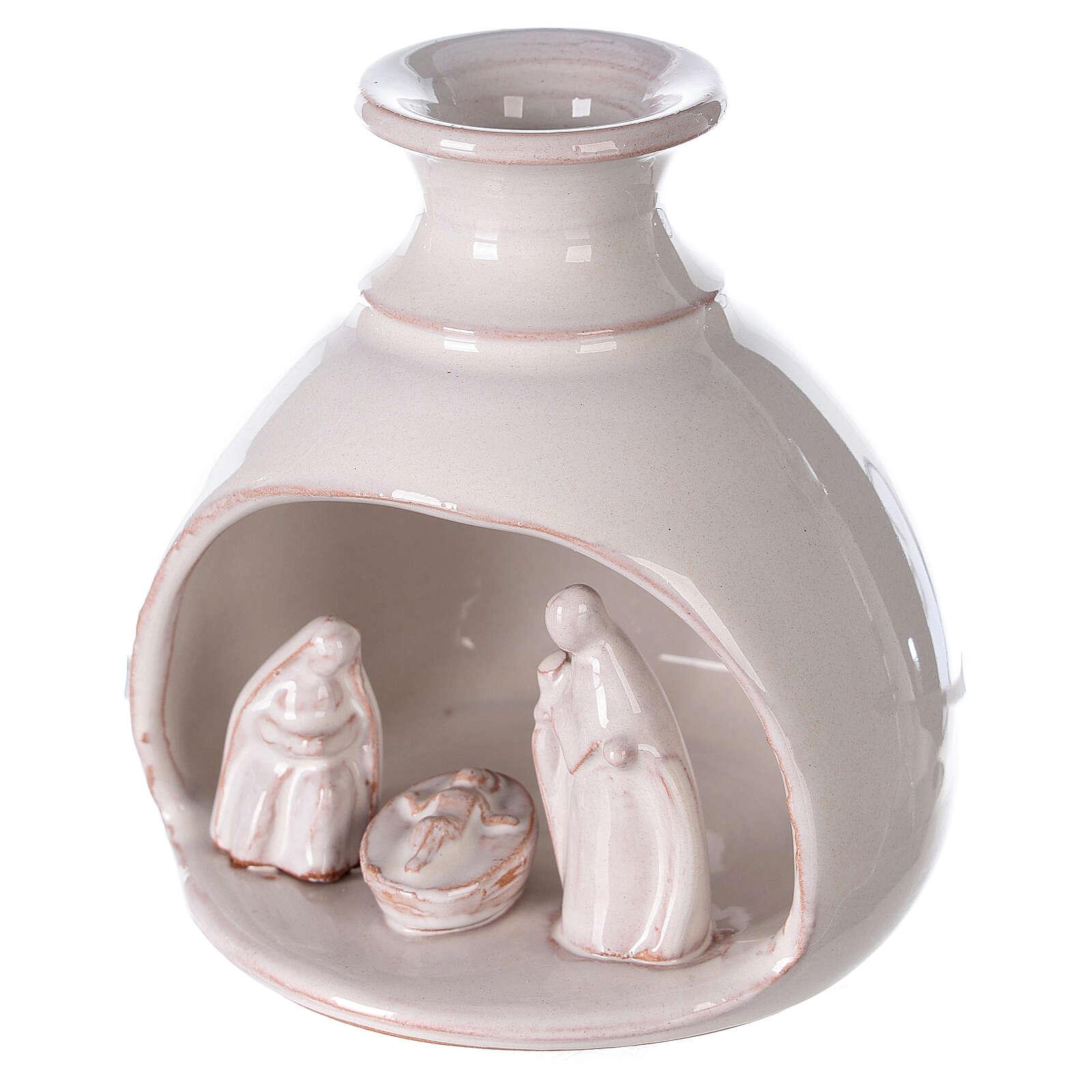 Mini white Deruta terracotta vase Nativity scene 10 cm 4