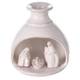 Mini white Deruta terracotta vase Nativity scene 10 cm s1