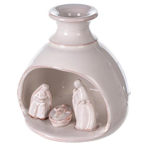 Mini white Deruta terracotta vase Nativity scene 10 cm 2