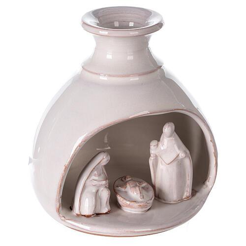 Mini white Deruta terracotta vase Nativity scene 10 cm 3