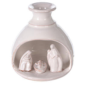 Miniature Nativity set in vase white Deruta terracotta 10 cm s1