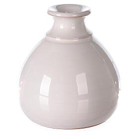 White vase with miniature Nativity natural terracotta Deruta 10 cm s4