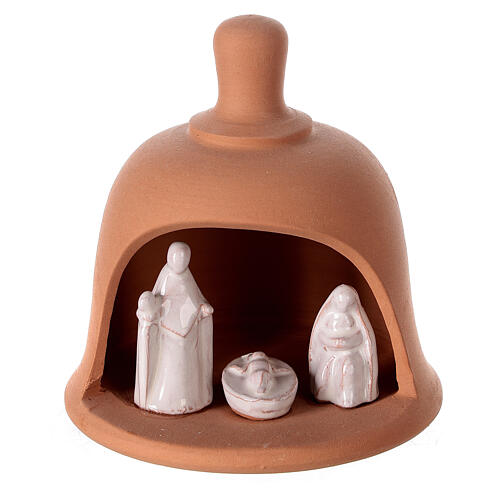 Bell in natural white Deruta terracotta Nativity 10 cm 1