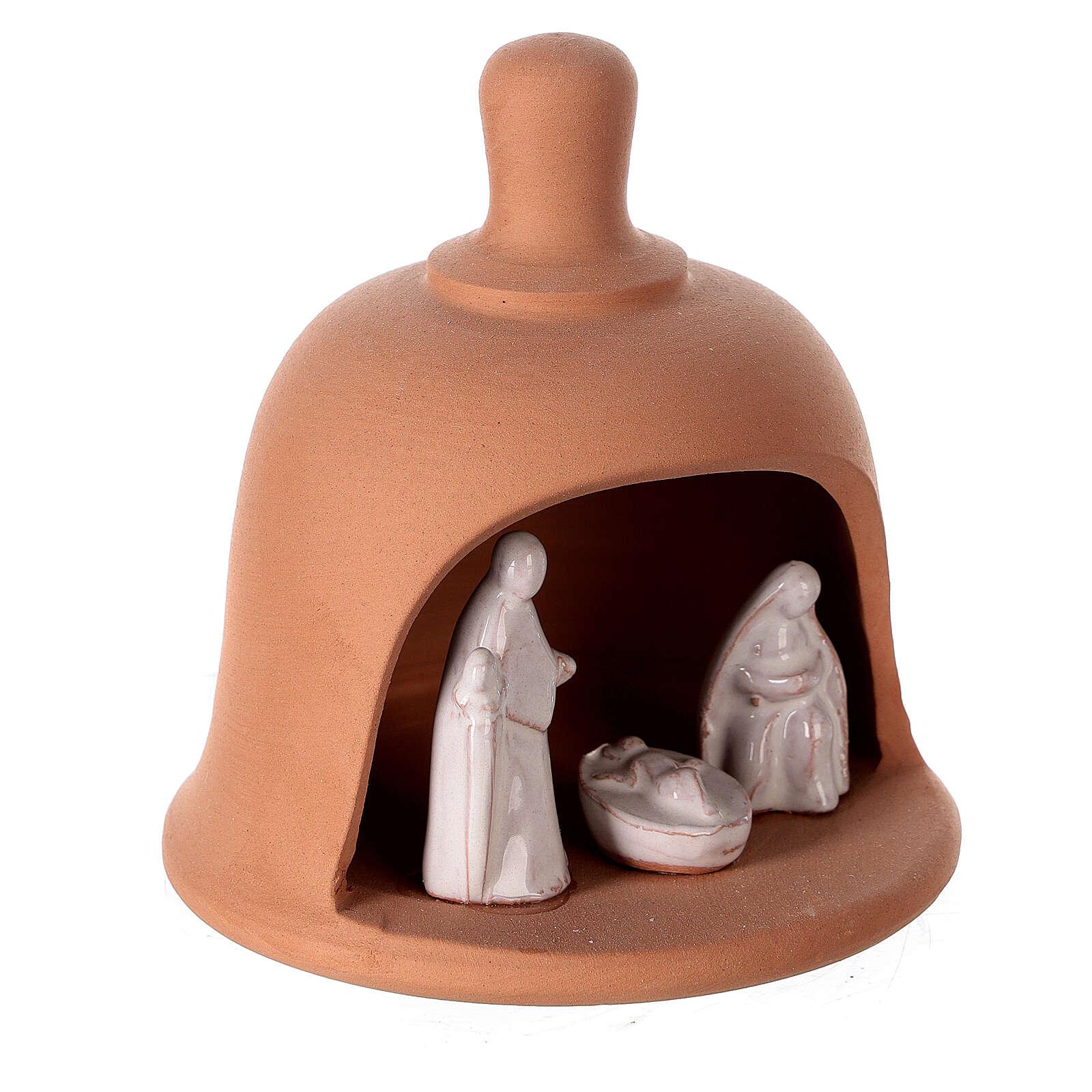 Terracotta bell with white Nativity set Deruta 10 cm 4