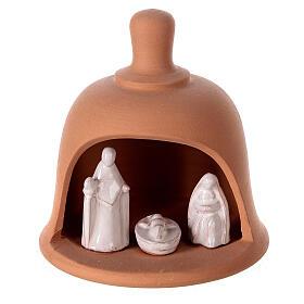 Terracotta bell with white Nativity set Deruta 10 cm s1