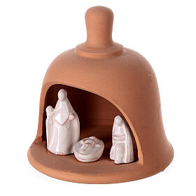 Terracotta bell with white Nativity set Deruta 10 cm s2