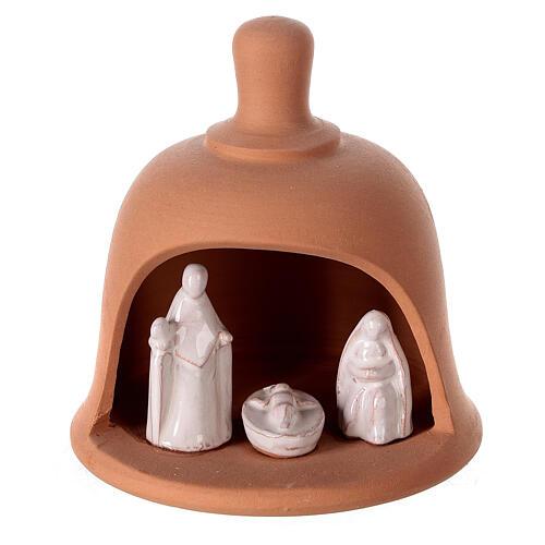 Terracotta bell with white Nativity set Deruta 10 cm 1