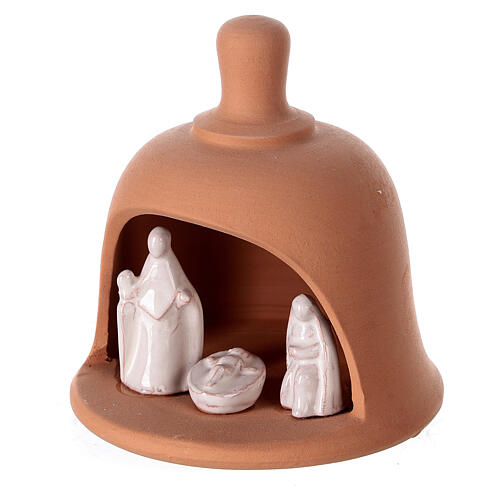 Terracotta bell with white Nativity set Deruta 10 cm 2