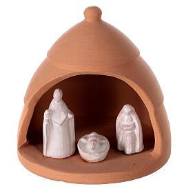 Crèche miniature sapin contraste terre cuite Deruta 10 cm s1