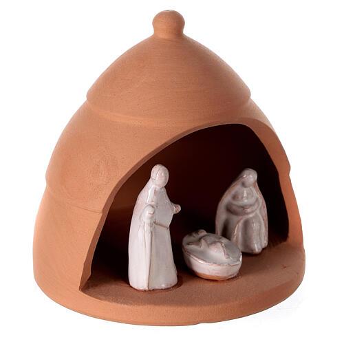 Pine with miniature Nativity set in Deruta terracotta 10 cm 3