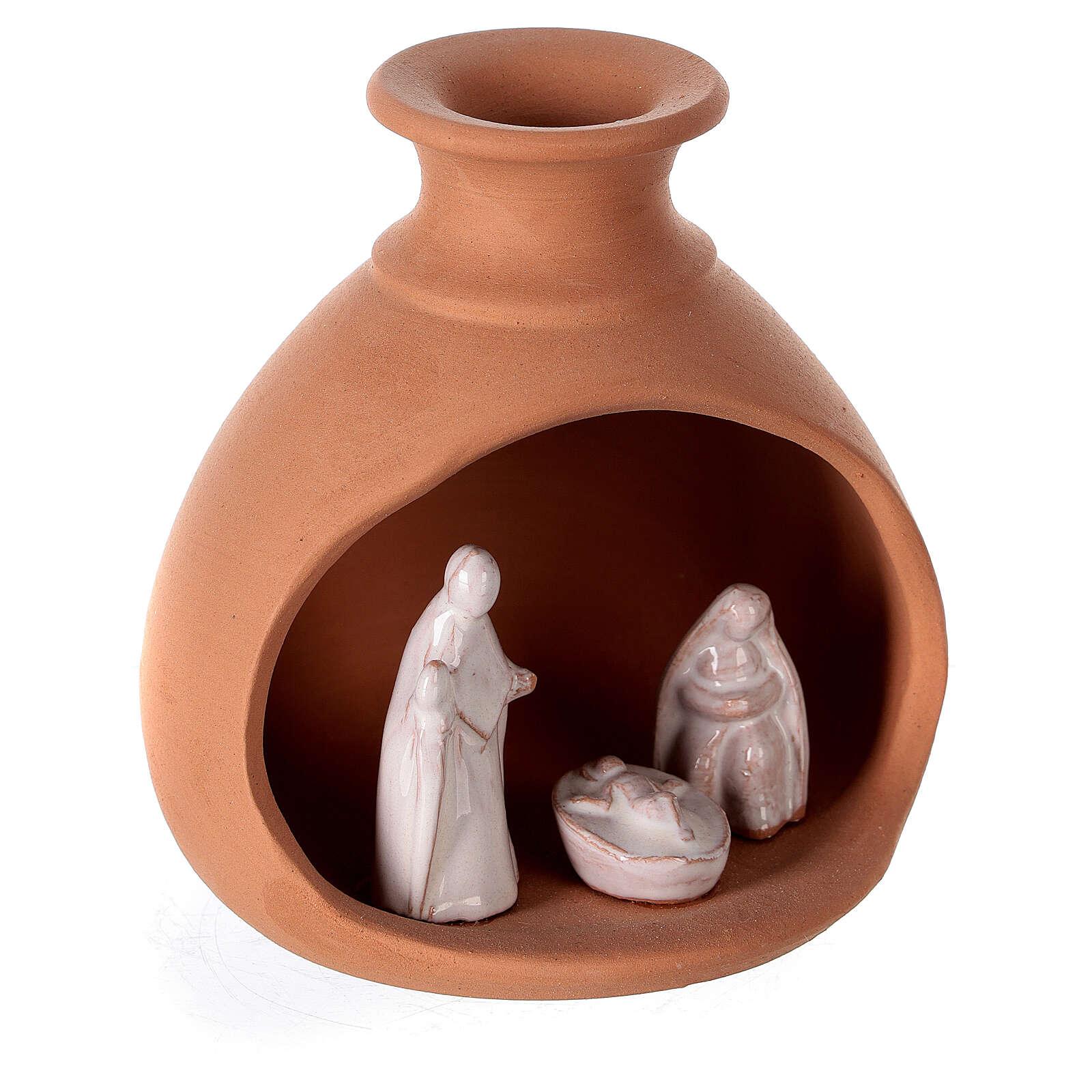 Crèche vase mini terre cuite bicolore Deruta 10 cm 4