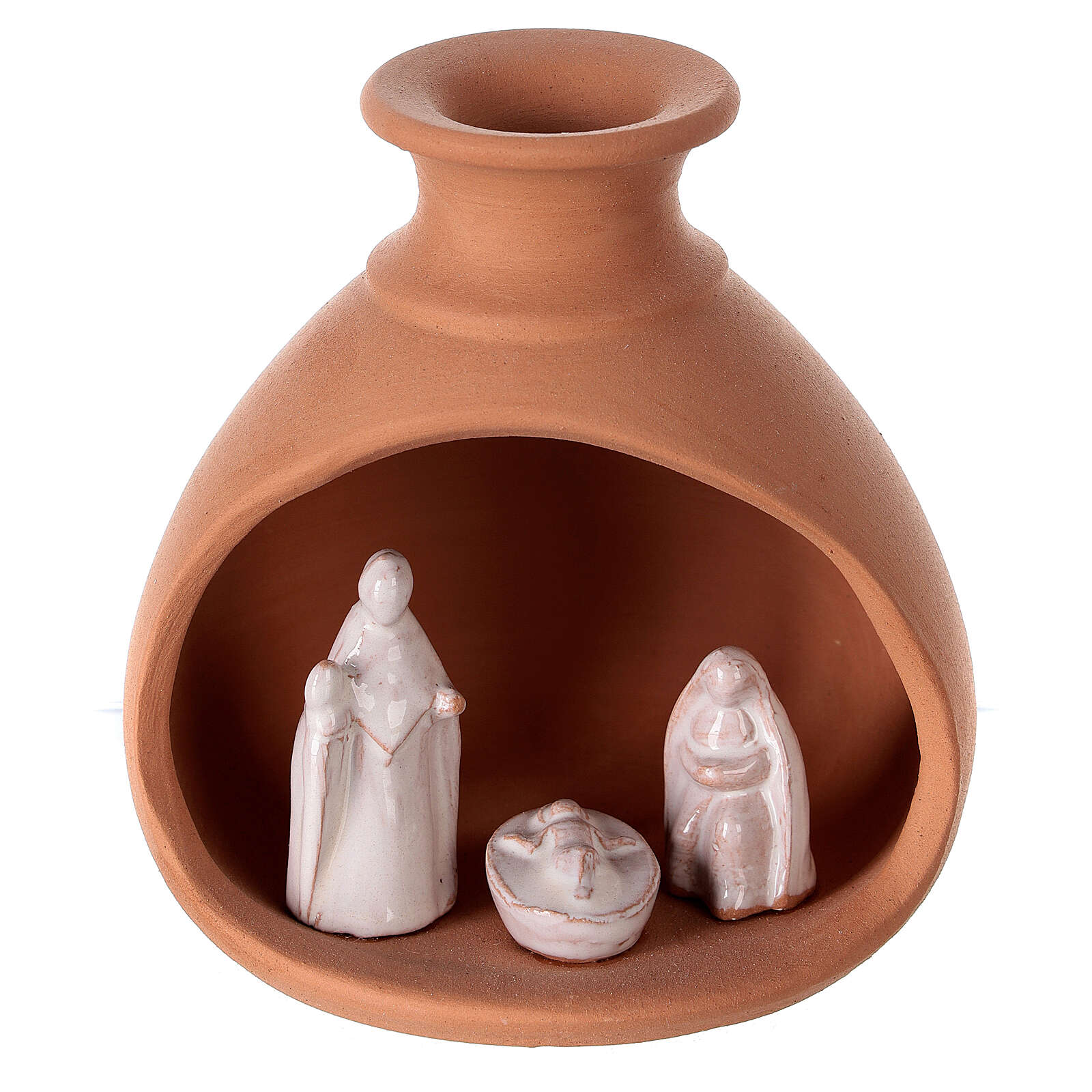 Cabana Natividade mini vaso redondo terracota natural com figuras Sagrada Família brancas Deruta 10 cm 4