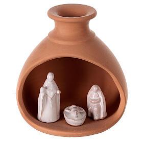 Cabana Natividade mini vaso redondo terracota natural com figuras Sagrada Família brancas Deruta 10 cm s1