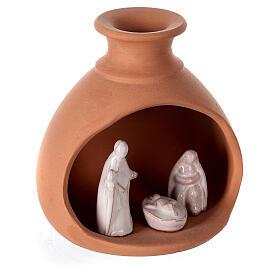 Cabana Natividade mini vaso redondo terracota natural com figuras Sagrada Família brancas Deruta 10 cm s3