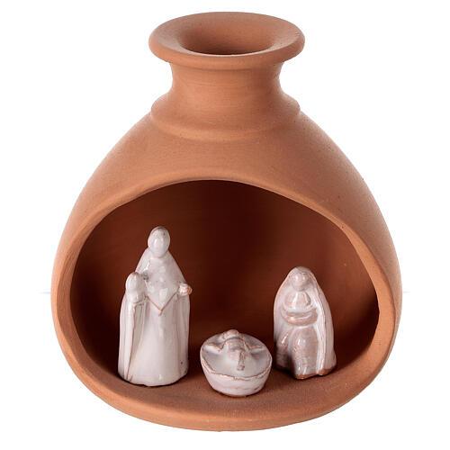Cabana Natividade mini vaso redondo terracota natural com figuras Sagrada Família brancas Deruta 10 cm 1