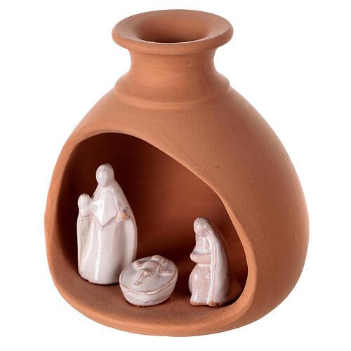Cabana Natividade mini vaso redondo terracota natural com figuras Sagrada Família brancas Deruta 10 cm 2