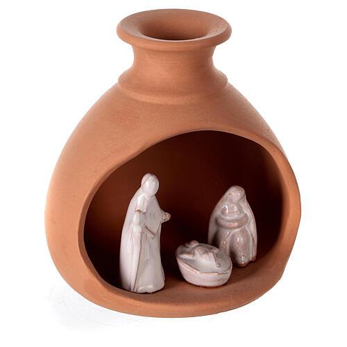Cabana Natividade mini vaso redondo terracota natural com figuras Sagrada Família brancas Deruta 10 cm 3