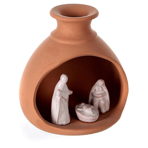 Terracotta nativity in vase two-toned Deruta 10 cm 3