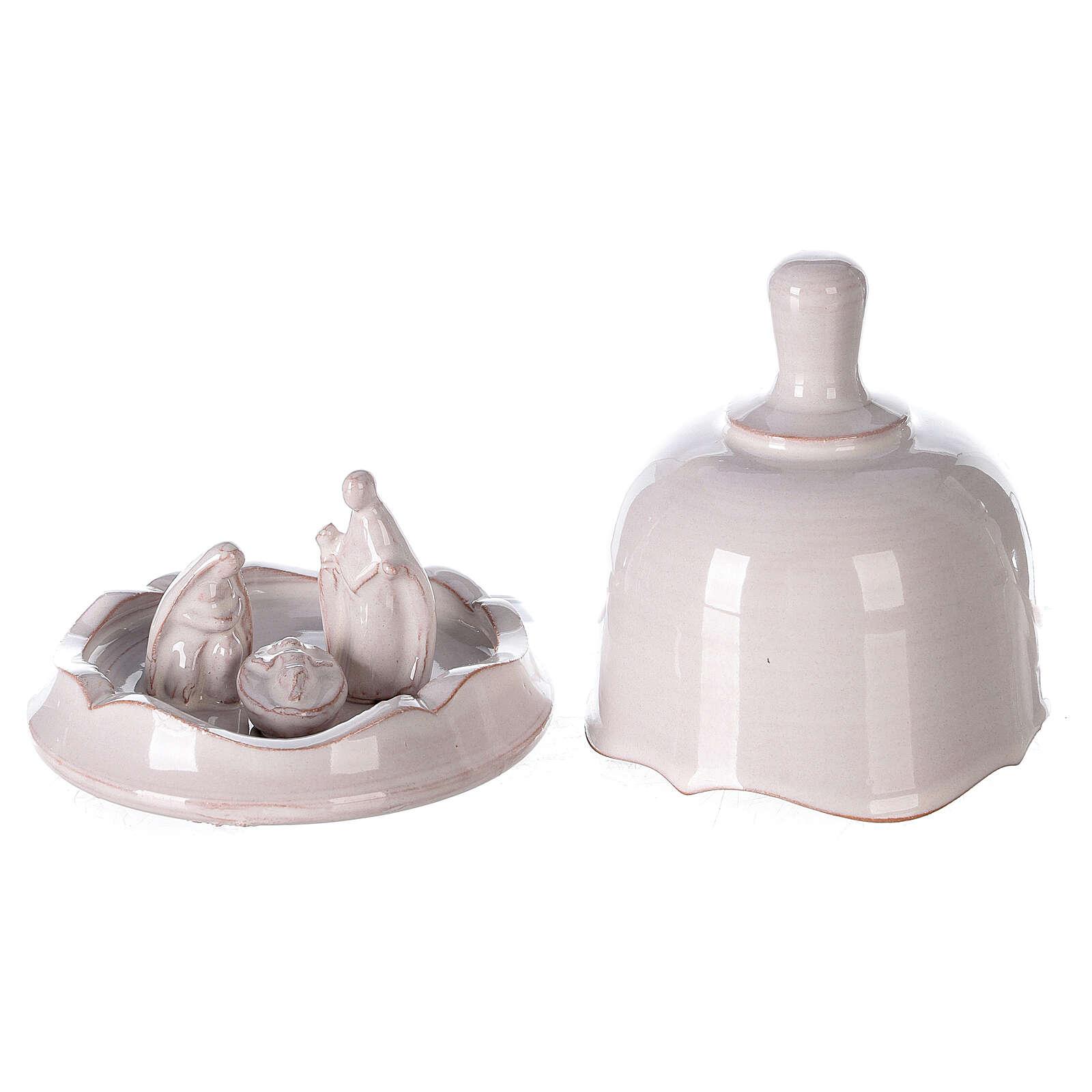 White Nativity set inside openable bell Deruta terracotta 10 cm 4