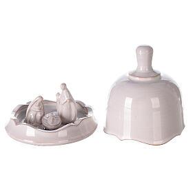 White Nativity set inside openable bell Deruta terracotta 10 cm s1