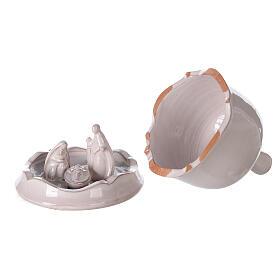 White Nativity set inside openable bell Deruta terracotta 10 cm s4