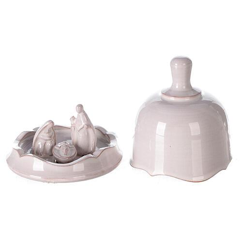 White Nativity set inside openable bell Deruta terracotta 10 cm 1