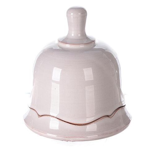 White Nativity set inside openable bell Deruta terracotta 10 cm 3