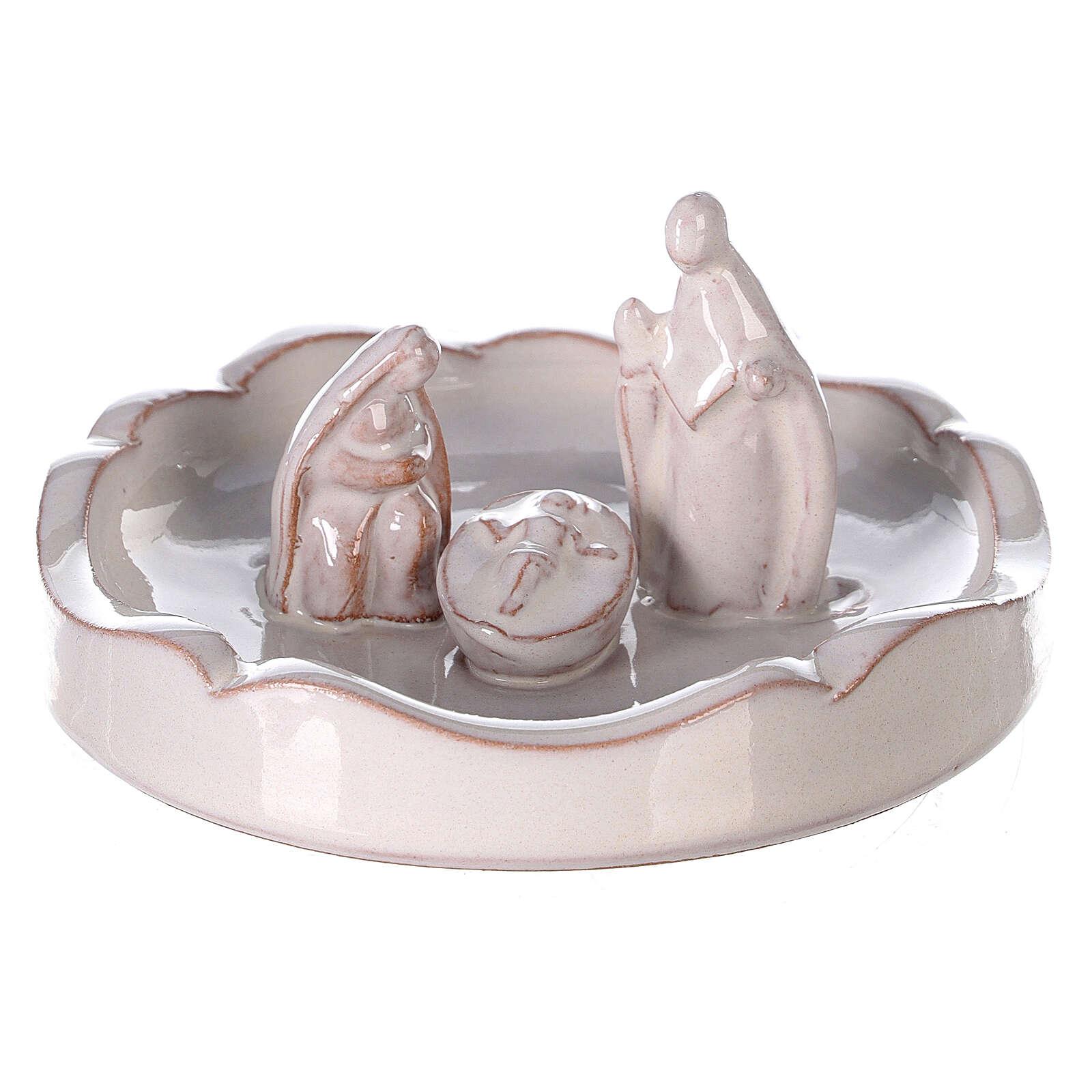 Pino tagliato terracotta Natività Deruta bianca 10 cm 4