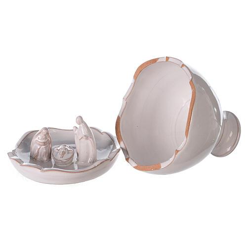 Vaso apribile presepe terracotta bianco Deruta 10 cm 4