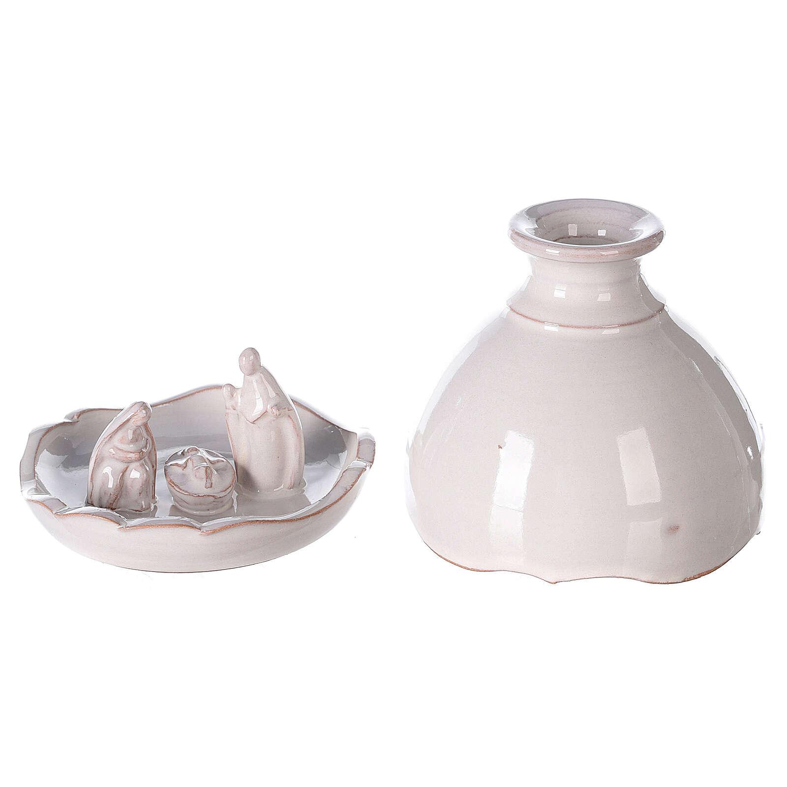 Miniature Holy Family set in openable vase white Deruta terracotta 10 cm 4